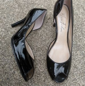 Marc Fisher Black Faux Patent Open Toe Heels 8.5M